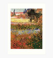 Flowering Garden. Vintage floral garden oil painting by Vincent van Gogh. Art Print