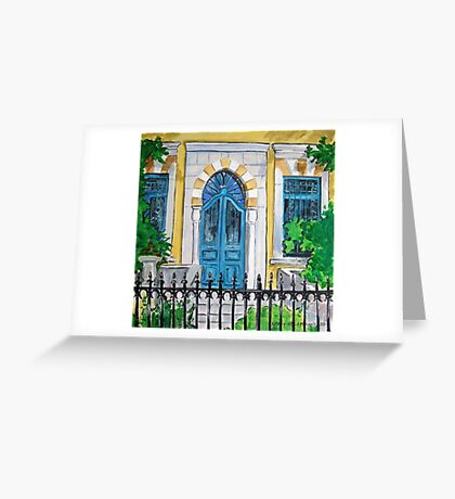 Arched Blue Door Greeting Card