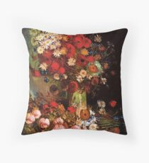 Vase with Poppies, Cornflowers, Peonies and Chrysanthemum. Vincent van Gogh.  Throw Pillow