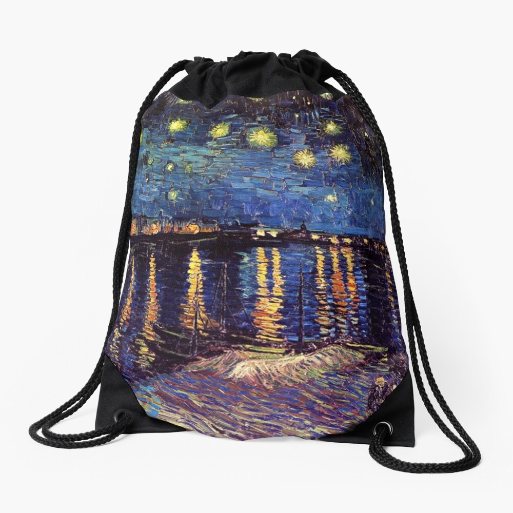 Starry Night over the Rhone, Vincent van Gogh Drawstring Bag