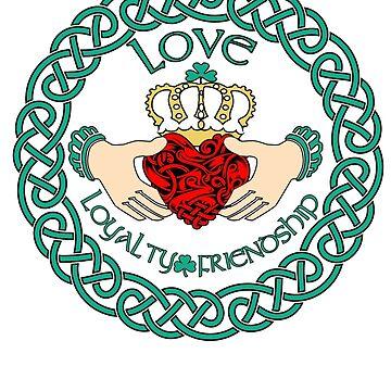 Irish Claddagh Ring Love Loyalty Friendship Celtic Pattern by funnytshirtemp