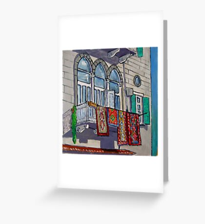 Balcony with Hanging Carpets Greeting Card