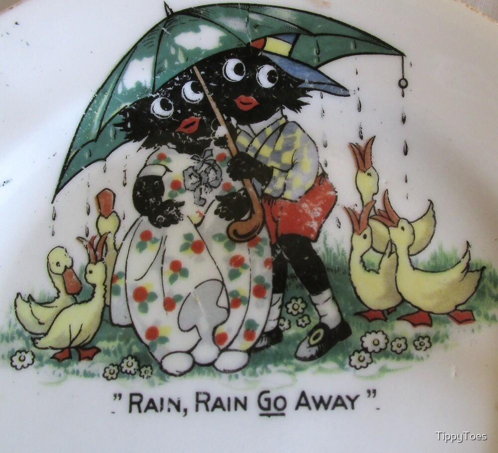 Gollies saying Rain Rain Go Away by TippyToes