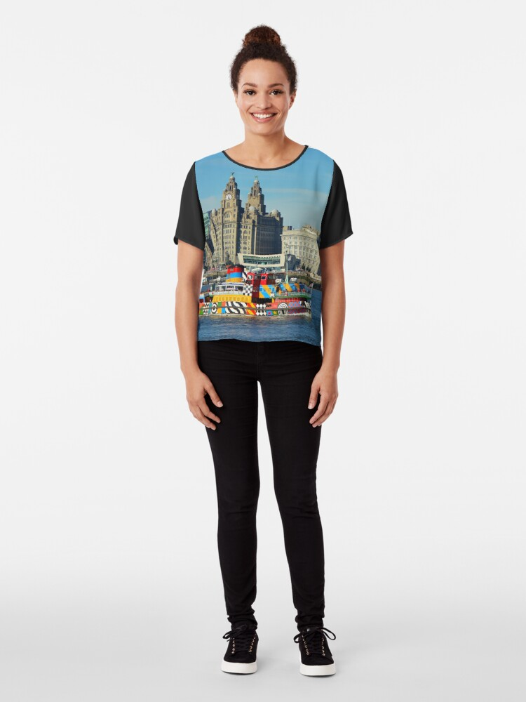 Alternate view of Liverpool Waterfront and Mersey Ferry Chiffon Top