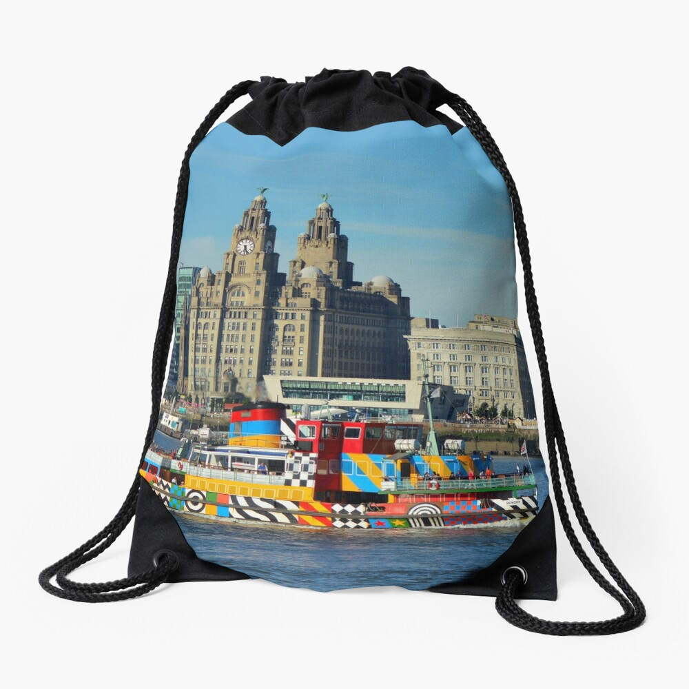 Liverpool Waterfront and Mersey Ferry Drawstring Bag