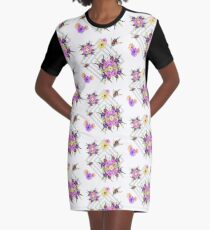 Late Summer Medley on Grey Graphic T-Shirt Dress