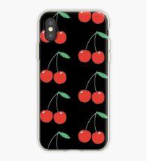 Wildblumen Kirschen schwarz iPhone-Hülle & Cover