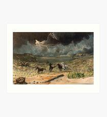Wild horses in a thunder storm =acrylics on canvas Art Print