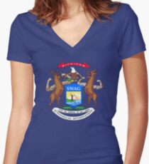 Michigan Flag Redone Women's Fitted V-Neck T-Shirt