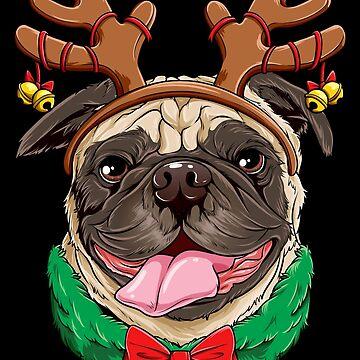 Pug Christmas shirt Reindeer Antlers Dog Xmas Girls Kids Tee by LiqueGifts