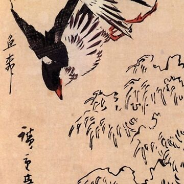 Birds Over Waves by Utagawa Hiroshige (Reproduction) by RozAbellera