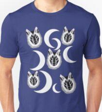 Black White Wolves Moons Unisex T-Shirt