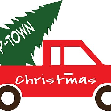 P-Town Christmas Happy Holidays Red Pick Up Truck with Tree by WigOutlet