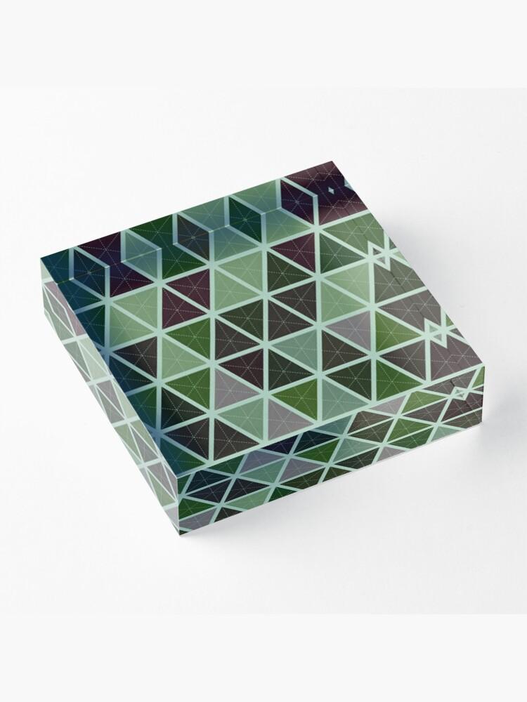 Alternative Ansicht von Grüne Tapeten-geometrisches Muster-Design Acrylblock