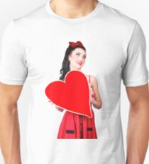 Young lady holding retro red heart card Unisex T-Shirt