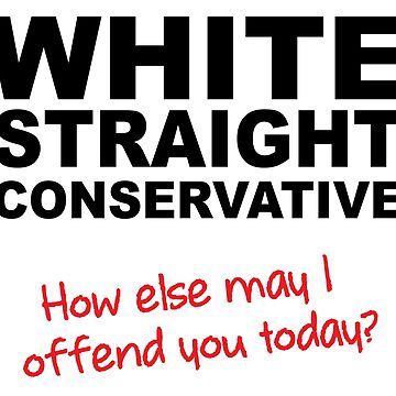 White Straight Conservative Funny T-Shirt by OneTonSoup