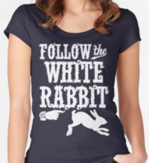 Follow The White Rabbit Alice in Wonderland T Shirt Women's Fitted Scoop T-Shirt