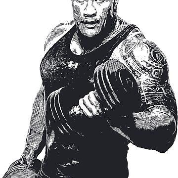 Dwayne Johnson Bodybuilding Gym Workout Clothing by pronyctech