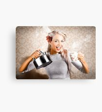 Beautiful Young Retro Woman With Cup Of Coffee Metal Print