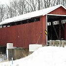 Martinsville Covered Bridge in the Snow by debbiedoda