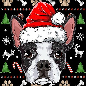 Boston Terrier Ugly Christmas Shirt Santa Hat Xmas Dog Boys by LiqueGifts