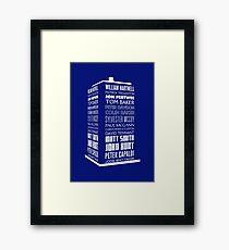 Police Box Names - Chronological Hartnell to Whittaker in white Framed Print