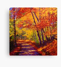 New England Autumn Maple Road Canvas Print