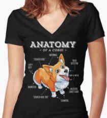 Anatomy of a Corgi T-Shirt Funny Corgis Dog Puppy Shirt Women's Fitted V-Neck T-Shirt