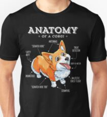 Anatomy of a Corgi T-Shirt Funny Corgis Dog Puppy Shirt Unisex T-Shirt