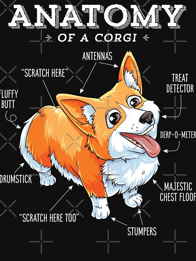Anatomie eines Corgi-T-Shirts Lustiges Corgis-Hundewelpen-Shirt von LiqueGifts