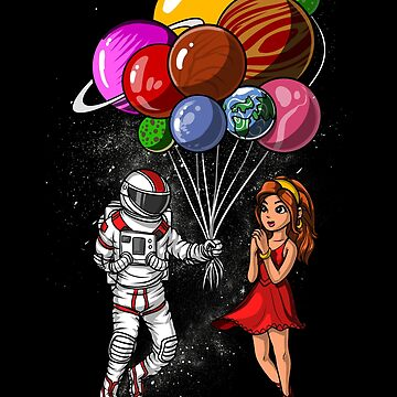 Space Astronaut Couple Balloons Planet Valentines Day by underheaven