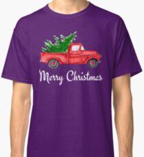 Vintage Red Truck Merry Christmas Farm Fresh Trees Classic Design Classic T-Shirt