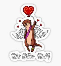 His Otter Half Valentines Day Girlfriend Matching Sticker