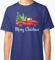 Merry Christmas Vintage Red Truck Xmas Farm Fresh Trees Classic Design Classic T-Shirt