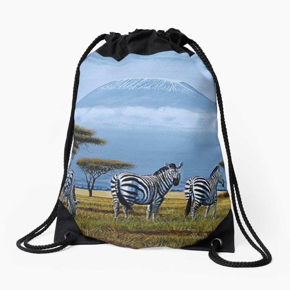 Schöne Kunstentwürfe der Zebras am Fuß des Berges. Kilimandscharo Turnbeutel
