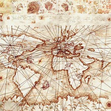 Vintage route map - Leonardo Da Vinci by Geekimpact