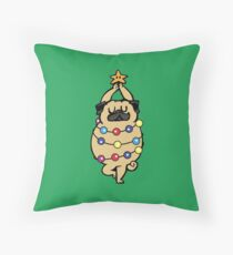 Pug Merry Christmas Throw Pillow