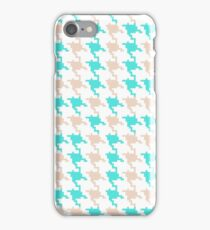 Abstract turquoise brown houndstooth pattern  iPhone Case/Skin