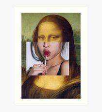 Mona Lisa Lolly Pop - Collage Art Print