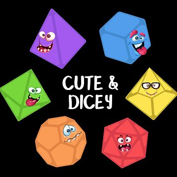 Funny Polyhedral Dice Set Monster Cute and Dicey Tabletop RPG by pixeptional