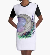 Moon with Lavender - Watercolor Witchcraft Graphic T-Shirt Dress