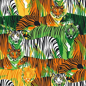 Graphic pattern of standing and walking tigers. by Glazkova