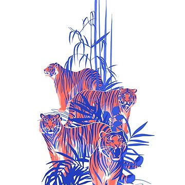 Graphic tigers standing, walking and roaring among the exotic leaves by Glazkova