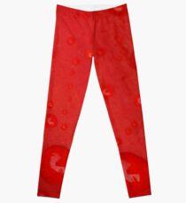 Deep Red Lily Petal and Raindrops Leggings