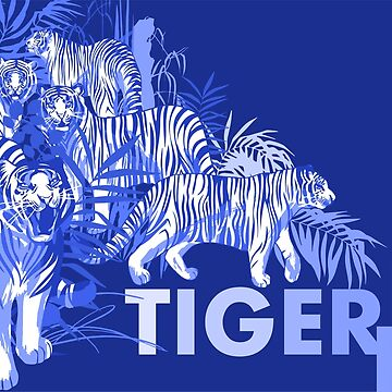 Graphic design with tigers standing, walking and roaring among the exotic leaves and trees by Glazkova