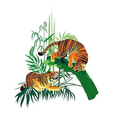 Graphic design with two aggressive fighting tigers surrounded by exotic plants. by Glazkova