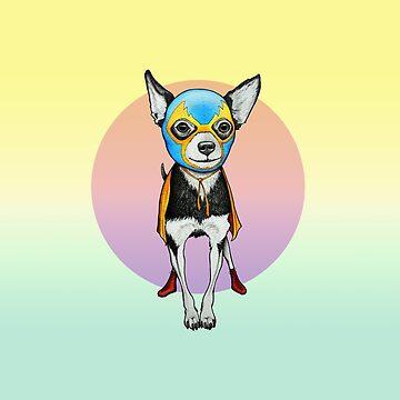 Perro Chihuahua Luchador de PaperTigressArt