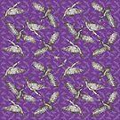 Cormorants pattern - grey on purple background by Sally Barnett