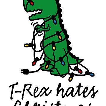 T-Rex hates Christmas lights dinosaur funny xmas by LaundryFactory