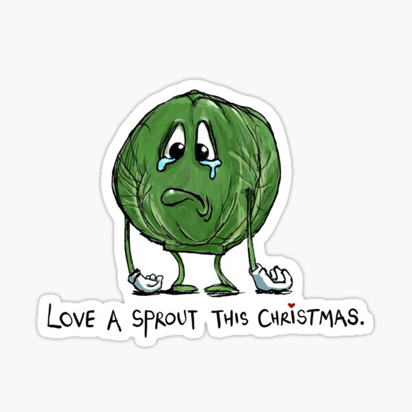 Funny Sad Cartoon Sprout Christmas Vegetable Joke Sticker